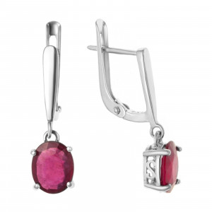 925 Sterling Silver pair earrings with  and rubin