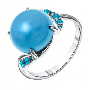 925 Sterling Silver women's rings with alpana and turquoise