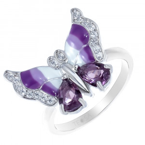 925 Sterling Silver women's ring with enamel and alpana