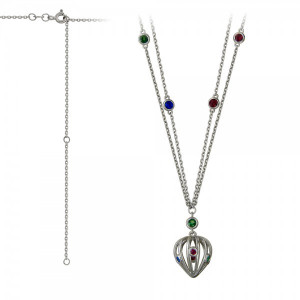 925 Sterling Silver necklaces with cubic zirconia and synthetic spinel