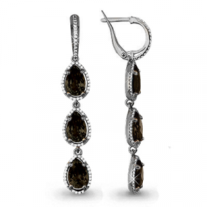 925 Sterling Silver pair earrings with cubic zirconia and quartz