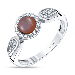 925 Sterling Silver women's rings with pink mother of pearl and cubic zirconia