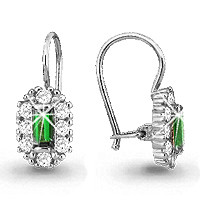 925 Sterling Silver pair earrings with glass and synthetic spinel
