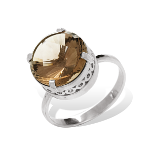 925 Sterling Silver women's ring with rauchtopaz and topaz