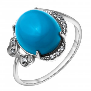 925 Sterling Silver women's rings with cubic zirconia and synthetic turquoise