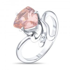 925 Sterling Silver women's rings with morganite and morganite hydroterm.