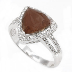 925 Sterling Silver women's ring with rauchtopaz and cubic zirconia