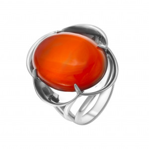 925 Sterling Silver women's rings with carnelian and malachite
