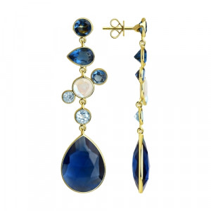 925 Sterling Silver pair earrings with fluorite and topaz