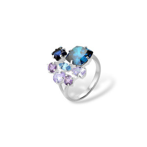 925 Sterling Silver women's rings with quartz and alpana