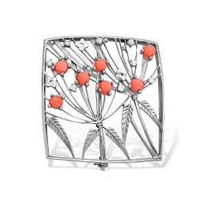 925 Sterling Silver brooches with coral
