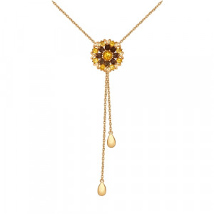 925 Sterling Silver necklaces with citrine and cubic zirconia