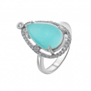 925 Sterling Silver women's ring with cat's eye and cubic zirconia
