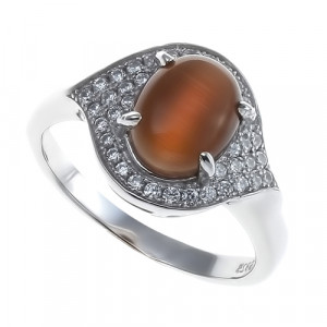 925 Sterling Silver women's ring with cat's eye