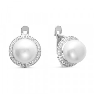925 Sterling Silver pair earrings with pearl and cubic zirconia