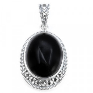 925 Sterling Silver pendants with marcasite and onyx
