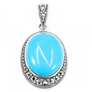 925 Sterling Silver pendants with marcasite and turquoise
