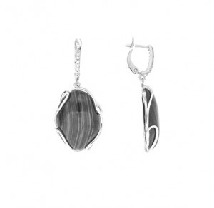 925 Sterling Silver pair earrings with coral and obsidian