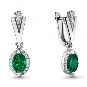 925 Sterling Silver pair earrings with nano sapphire and nano emerald