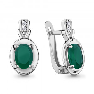 925 Sterling Silver pair earrings with green agate