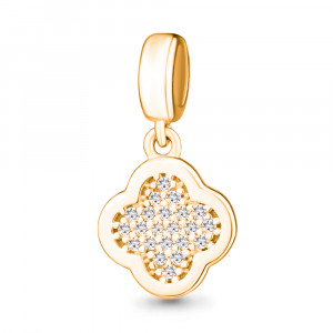 925 Sterling Silver pendant charm with cubic zirconia