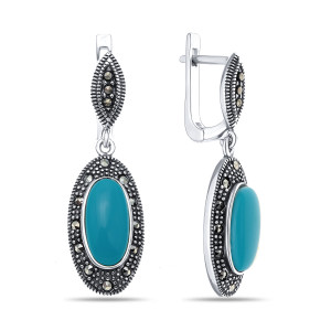 925 Sterling Silver pair earrings with marcasite and synthetic turquoise
