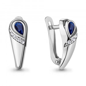 925 Sterling Silver pair earrings with cubic zirconia and nano sapphire