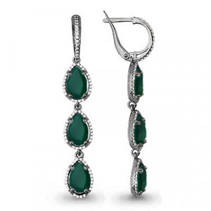925 Sterling Silver pair earrings with green agate and