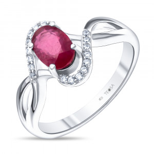 925 Sterling Silver women's rings with rubin and cubic zirconia