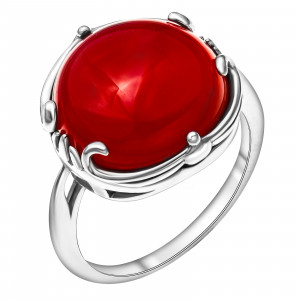 925 Sterling Silver women's rings with synthetic carnelian