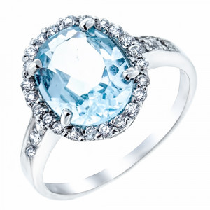 925 Sterling Silver women's ring with cubic zirconia and topaz