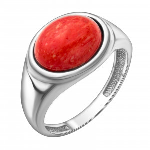 925 Sterling Silver women's rings with synthetic coral