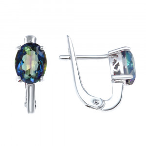 925 Sterling Silver pair earrings with mystic quartz and mystic bluish