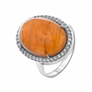 925 Sterling Silver women's rings with moonstone and carnelian