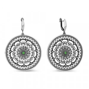 925 Sterling Silver pair earrings with  and spinel