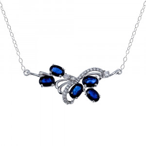 925 Sterling Silver necklaces with cubic zirconia and corundum