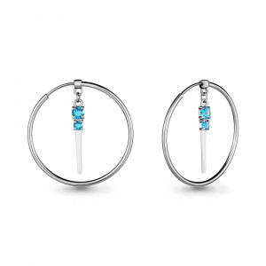 925 Sterling Silver pair earrings with cubic zirconia swarovski and