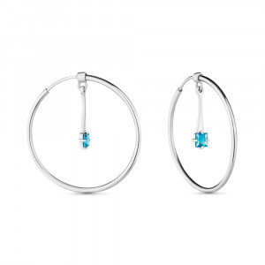 925 Sterling Silver pair earrings with  and cubic zirconia swarovski