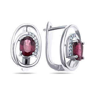 925 Sterling Silver pair earrings with cubic zirconia and rubin