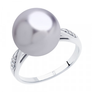 925 Sterling Silver women's rings with cubic zirconia swarovski and pearl imit.