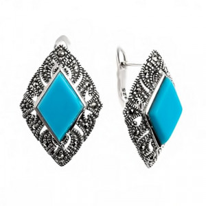 925 Sterling Silver pair earrings with turquoise and synthetic turquoise