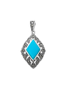 925 Sterling Silver pendants with synthetic turquoise and marcasite