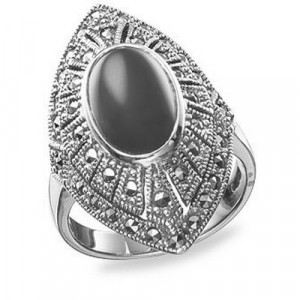 925 Sterling Silver women's ring with marcasite and onyx