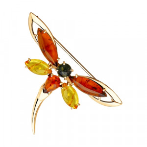 925 Sterling Silver brooches with amber