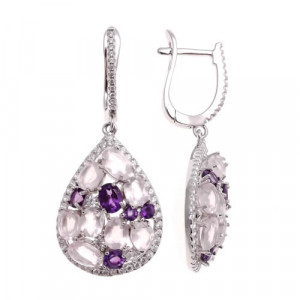 925 Sterling Silver pair earrings with amethyst and pink quartz