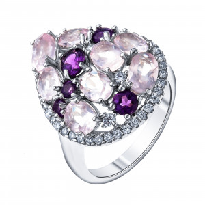 925 Sterling Silver women's rings with pink quartz and amethyst