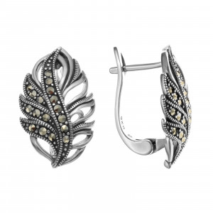 925 Sterling Silver pair earrings with marcasite