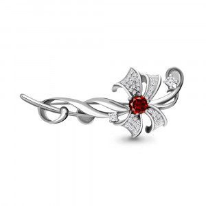 925 Sterling Silver brooches with garnet and cubic zirconia