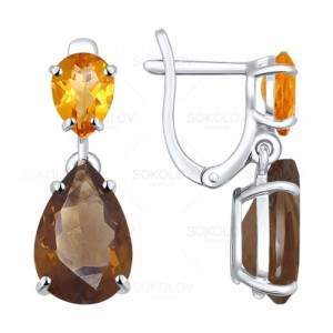 925 Sterling Silver pair earrings with citrine and topaz