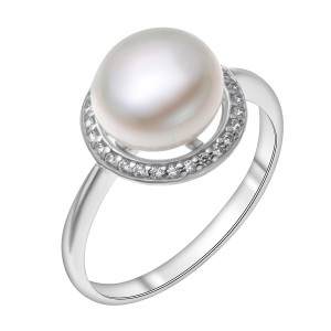 925 Sterling Silver women's rings with pearl and glass